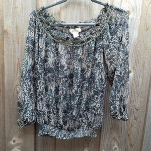 Francesca's Off Shoulder Sheer Print Top Size M
